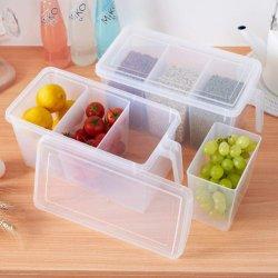 Пластиковый четкие данные органайзера для хранения продуктов ящики с крышками и 3 Съемные лотки для холодильником холодильник кабинета письменный стол