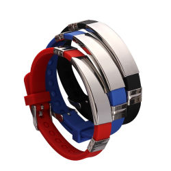 Nouvelle Mode Handmade Silicone Bracelets en acier inoxydable lettrage logo gravé au laser Bracelet cadeau