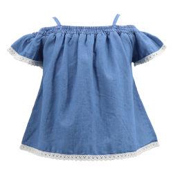 Commerce de gros designer coréen de Style élégant de l'été parti OEM de tendances de l'usure boutique robe bleu denim Kids T Shirt Vêtements Vêtements pour bébé Bébé Enfant Filles