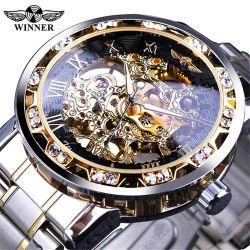 Ganador de 278 diamantes reloj Transparente, el movimiento de marcha luminoso diseño real de reloj de pulsera esqueleto mecánico macho