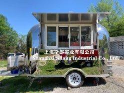 De Aanhangwagen van het Voedsel van het Type van Luchtstroom van de douane, de Caravan van het Snelle Voedsel, de Vrachtwagen van het Voedsel van het Roestvrij staal van de Spiegel,