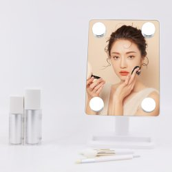 Hollywood Style vier LED-dimmende lamp met opbergtas Desktop Full Face Rotate Best Verkoper Makeup Mirror