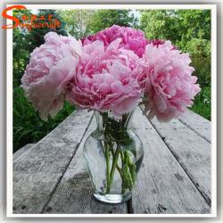 Flores chinês de Seda Artificial Três Chefe Peony para decoração