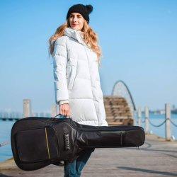 41 Polegadas Saco de guitarra acústica 0,3 polegada de espessura estofamento e alça de ombro ajustável Duplo Impermeável Guitar Caso Gig bolsa com alça de suspensão traseira - Preto