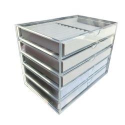 Scatola di presentazione acrilica dei monili nel negozio della memoria con 5 cassetti e cassetti del velluto