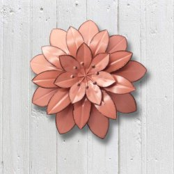 Colore rosa di giardino domestico grande decorazione di arte della parete del fiore del metallo da 11.5 pollici per l'ufficio esterno dell'interno