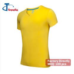 DIY Plaine bon marché de couleurs multiples Stock promotionnel de polyester/coton Col V T-shirts pour publicité/Giveaway