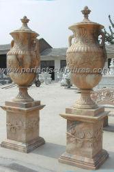 Большой сад, декоративные вырезанными из камня натурального мрамора сеялки Карвинг Flower Pot для использования вне помещений (QFP098)