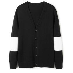 Contraste Noir & Blanc occasionnels Cardigan en tricot encolure en V avec manchon long