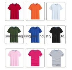 Commerce de gros 100% coton broderie d'impression personnalisée col rond manches courtes hommes femmes adultes à aiguille double T Shirt