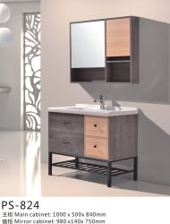 خزانة حمام من الخشب الرقائقي مع حوض خزفي وكويرة مرآة