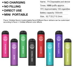 8 saveurs 2.4 Ohm 1000 Vape jetables de bouffée de stylo avec 3.0ml E-liquide 550mAh Batterie rechargée boîtier en aluminium