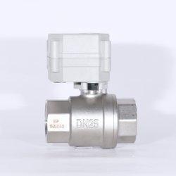 Valvola a sfera elettrica in acciaio inox NSF 2 vie 1 poll Valvola a sfera a flusso motorizzato con funzionamento manuale (T25-S2-C)