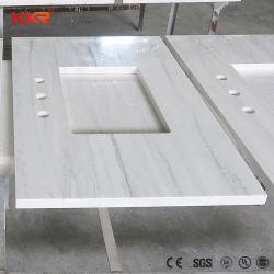 Dissipateur unique salle de bains personnalisée en résine acrylique Surface solide Vanity Tops