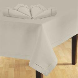 Panno di tela puro della Tabella di 100% con Hemstitch nel colore bianco (TL-010)