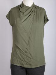 プリーツをつけられたショールカラーが付いている女性のあや織りの不足分のReglanの袖のワイシャツ