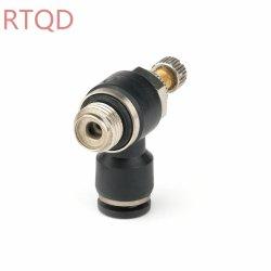 SL/NSE/Sc시리즈 공기 제어 구리 재질 G 나사산 O 링 한 방향 속도 컨트롤 레귤레이터 트로틀라 밸브 핸드 밸브 공압 피팅
