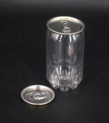 China Lieferanten 350ml Plastik Trinktier Flasche Verpackung für Getränke Kalt-Trinkbehälter mit Aluminium-Kappe