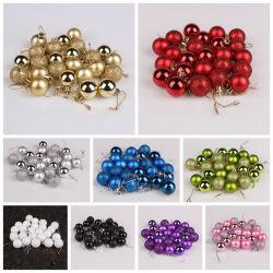 24 PCS/set Glitter Christmas Tree Ball Baubles kleurrijke Kerst Party Home Tuin Kerst Decoratie Supplies Hot Sale 12 kleuren