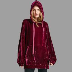 Logo personnalisé Xxxl robe pull en velours surdimensionné Hoodies pour les femmes Haut de la récolte de sexe féminin à manchon long Hoodie aucune étiquette les filles