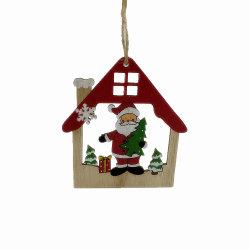 Ahuecado de madera de la casa de forma Adornos colgantes en Navidad