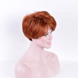 La mejor calidad Kanekalon sintéticas pelucas cortas y onduladas Brown