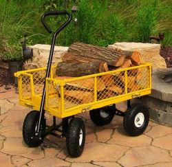 Commerce de gros Heavy Duty 300kg capacité Chariot de jardin en métal remorque vert panier Chariot 4 roues Chariot de jardin en métal de transport brouette tc1840