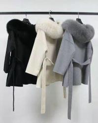 La mode nouvelle couche de laine de la fourrure Mesdames Long vestes avec fourrure de renard réel de l'hiver de la laine de cachemire Manteau de tranchée