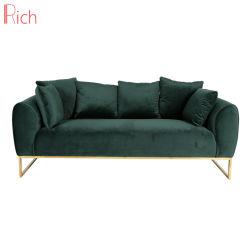 Casa moderna de acero inoxidable muebles de la Fama de Oro 3 Plazas Multi-Pillow tejido Conjunto sofá de terciopelo