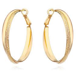 ローズの金のイヤリングの銀の幾何学的なたがのイヤリングの方法倍の女性のための円によって層にされるねじれのたがのイヤリングの宝石類