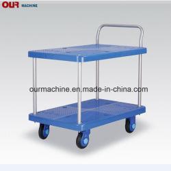 工場直売150kg-300kgの青い二重層プラスチック手のトロリー