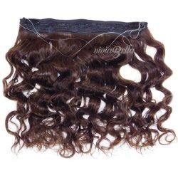 Cuerpo de color marrón de la India Ola Clip en 100% Humano Halo Hair Extension línea pescado Hair Extension