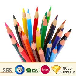 Haute qualité Non-Toxic naturelles promotionnels personnalisés papeterie scolaire Bureau d'impression sous étiquette privée en bois couleur de dessin Crayon avec gomme