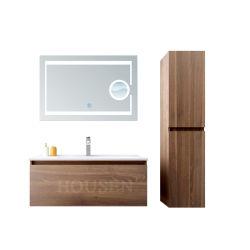 MDF バスルーム洗面台スクエアシンクには LED ミラーバスルームキャビネット家具が置かれている
