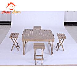 現代アルミニウム余暇のテラスの庭のレストランは屋外の家具完全なアルミニウムまたはアルミニウムプロフィールの木製の穀物家具および表をセットする