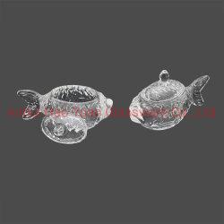 Kristallglas-Süßigkeit-Glas geformt wie ein Fisch