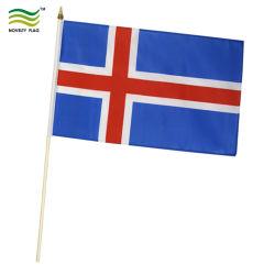 Полиэстер Исландии национальных вентиляторы пластмассовые/металл/деревянный столб стороны размахивание флагами (B-NF10F02033)