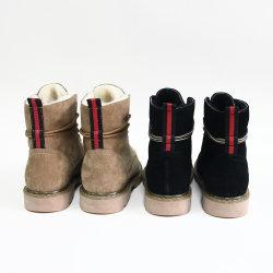 Último invierno Botas de cuero mujer puntera redonda tacón plano caliente de felpa señoras botas