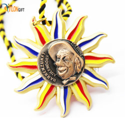 Creative Beautiful Flower Design Metal Promotion Gift Medal Of Souvenir