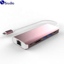 Mozzo del USB & palladio in-1 del mozzo 6 del USB C che incarica il tipo mozzo combinato del USB del POT di C dell'adattatore del lettore di schede di deviazione standard per il telefono del taccuino, tipo C al mozzo