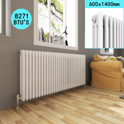 Columna doble radiador Horizontal blanco - Moderno Calefacción radiadores de ahorro de espacio