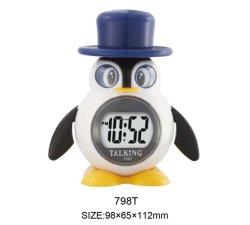 Adorável Penguin Desktop Conversando Horas Relógio digital com diferentes idiomas Inglês Francês Alemão Espanhol Russo coreano para crianças