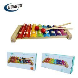 木の音楽的なおもちゃをたたく子供の楽器の8調子の木琴手