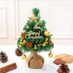 Amazon Hotsale مخصص ميني PVC ضوء لامع أخضر مصطنع عيد الميلاد شجرة الحرف