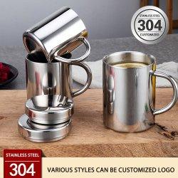 2021 Taça de vácuo de aço inoxidável para escritório OEM Service 304 por grosso, copos para viagem Food Grade com tampas