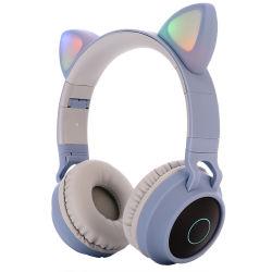De nieuwe Draadloze Hoofdtelefoons van de Tand van het Oor van de Kat van de Fabriek van de Aankomst In het groot Diepe Bas Stereo Leuke Blauwe
