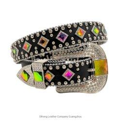 Colorido vidrio cristal de la moda occidental Berry Estrás Bling Cowgirl correa de cuero para mujer