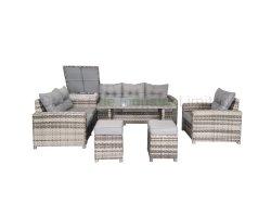 Горячая распродажа плетеный отдых Открытая мебель из ротанга столовая диван набор С блоком хранения