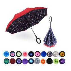 Doble Capa invierte paraguas con mango en forma de C Windproof, resistente al agua de lluvia para coche paraguas recto uso exterior (YZ-19-26)