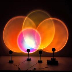 2021 Sonne Sonnenuntergang Regenbogen Projektion Licht Atmosphäre Nachtlicht Lampe USB Home Decoration Room Laser Mini Sunset Projector Lampe